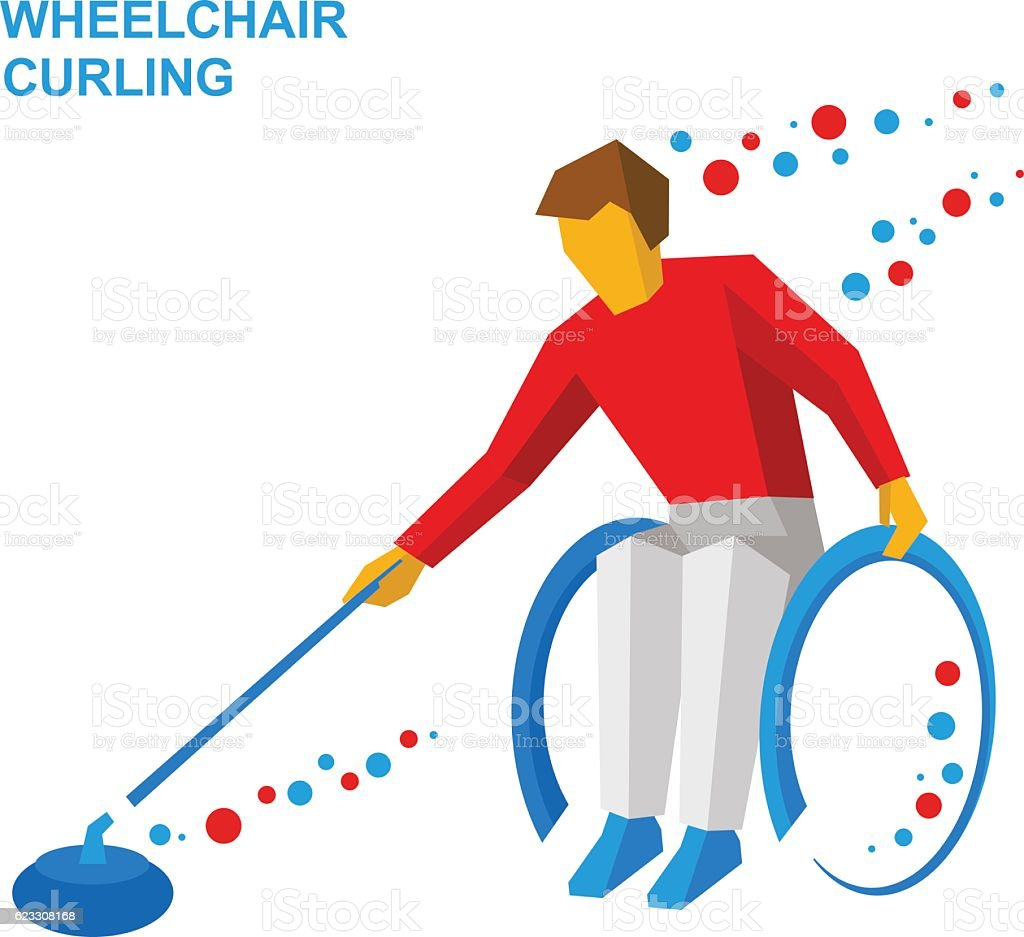 Winter sports - wheelchair curling. Curler with disabilities. vector art illustration