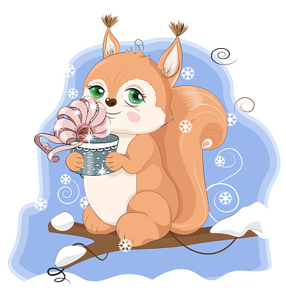 winter squirrel with gift