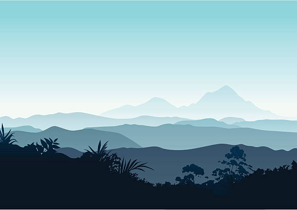 winter sunrise in the mountains - mountains in mist stock illustrations