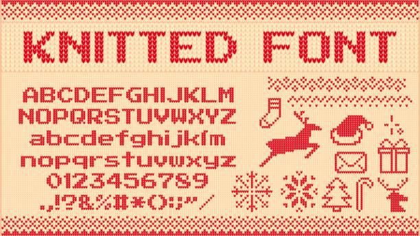 冬のセーターフォント。ニットクリスマスセーターレター、ニットジャンパークリスマスパターンと醜いセーターニットベクトルイラストセット - 編む点のイラスト素材/クリップアート素材/マンガ素材/アイコン素材
