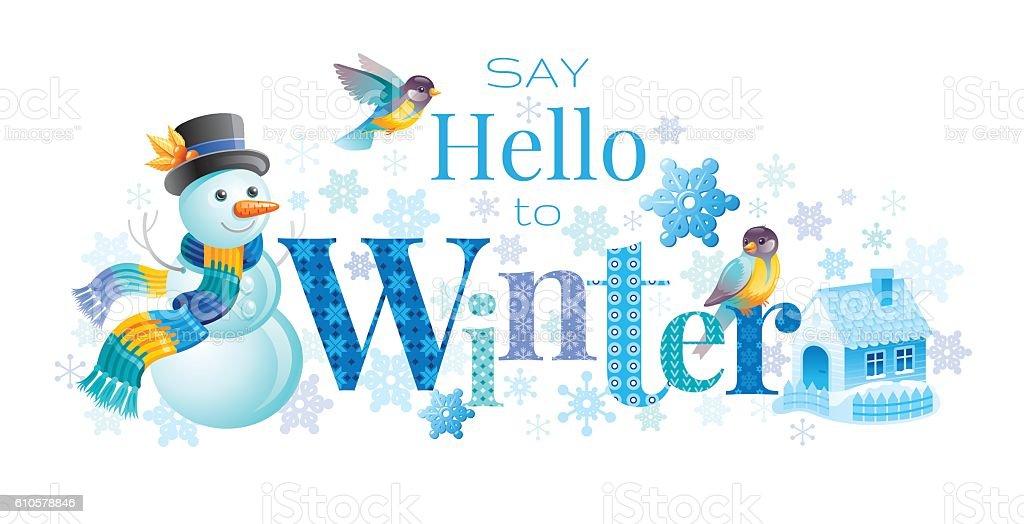 Winter Text Lettering Logo Snowman Vector Illustration Stock Vector
