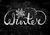 Winter text lettering with snowflake. Seasonal shopping concept to design