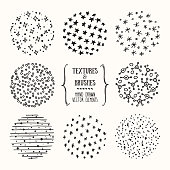 Winter textures, tribal pattern, brush strokes. Design template collection. Abstract vector clipart set isolated on white background.