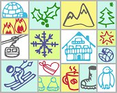 Vector hand drawn color icons -  winter theme -