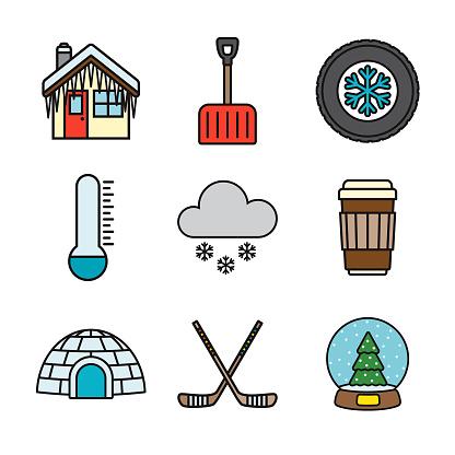 Winter Thin Line Icon Set
