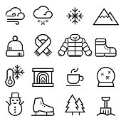 Winter Thin Line Icons