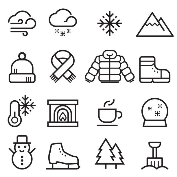 Winter Thin Line Icons Winter Thin Line Icons knit hat stock illustrations