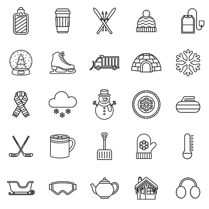 Winter Thin Line Outline Icon Set