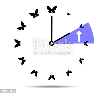 905623256 istock photo Winter time, clock with butterflies 988715842