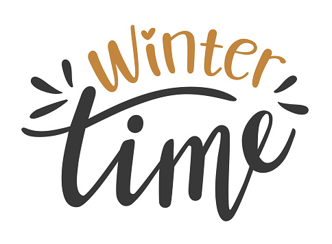 Winter Time hand drawn lettering. Vector phrases elements for cards, banners, posters, mug, scrapbooking, pillow case, phone cases and clothes design.