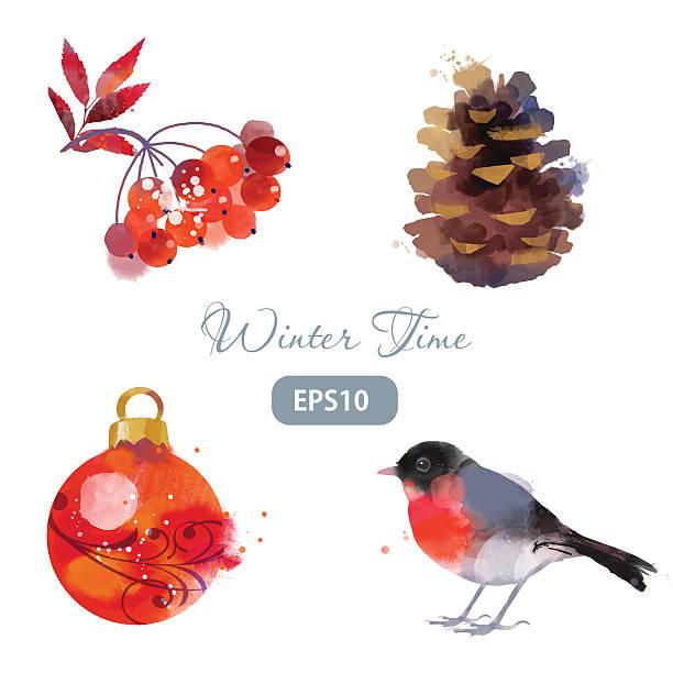 winter set von dompfaff vogelbeere christmas ball hütchen - dompfaff stock-grafiken, -clipart, -cartoons und -symbole