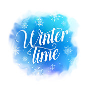 Winter time vector design for greetings card in blue watercolor