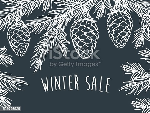 istock Winter time. Winter background with pine branches with cones. 523998929