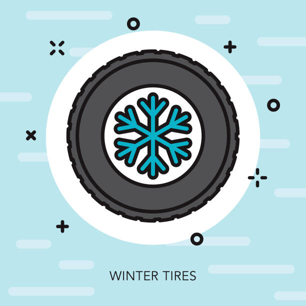 winter tires thin line winter icon - thin line fonts stock illustrations