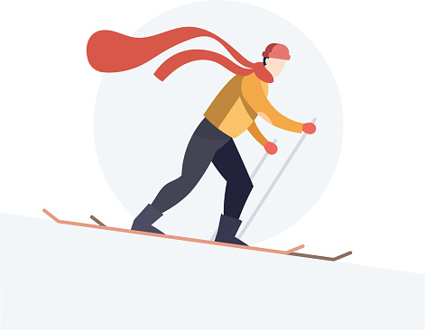 Winter tourism and skiing concept. Trendy flat style with skier in yellow and black sports suit. Vector of skier sliding downhill in windy weather. Snowy weather and downhill skiing vector illustration.