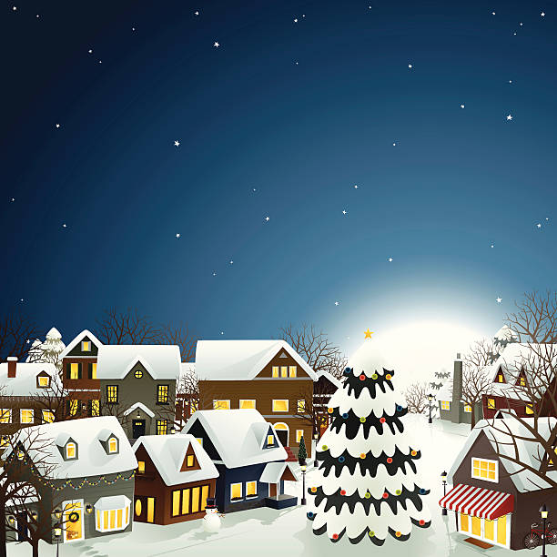 Winter Town - EPS8 vector art illustration