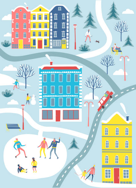 winter-stadt-karte-abbildung. - urlaubsaktivitäten stock-grafiken, -clipart, -cartoons und -symbole