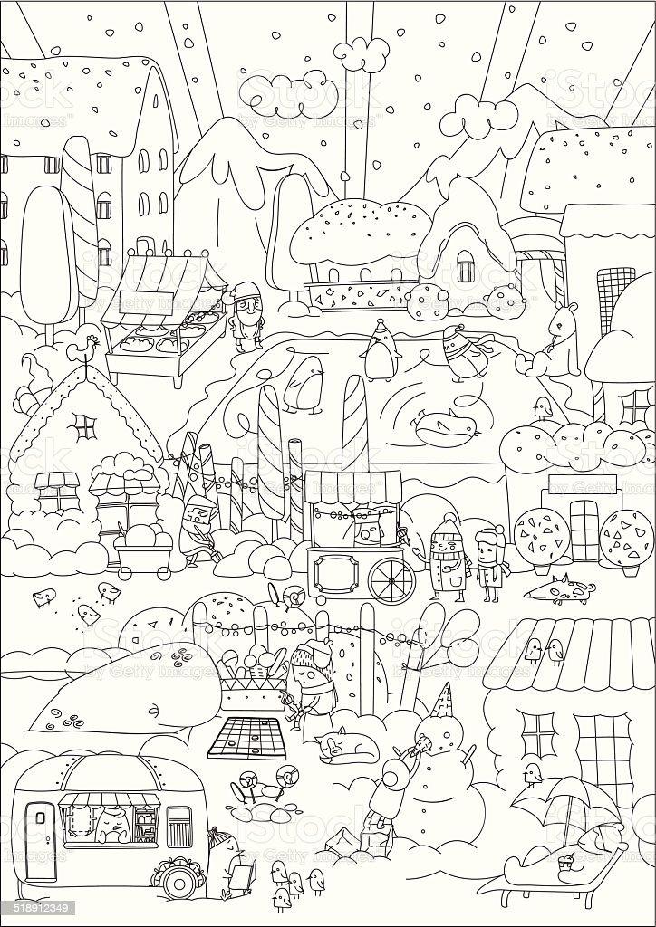 Winter town vector art illustration