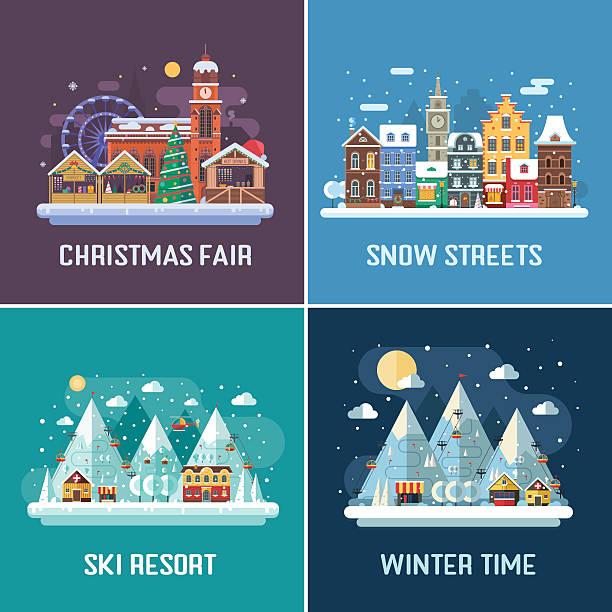 winter travel landscapes - weihnachtsmarkt stock-grafiken, -clipart, -cartoons und -symbole