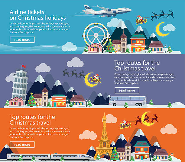 Winter Travel to UK, Italy and France. Merry Christmas banners vector art illustration