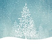 Holiday background with snowy landscape.