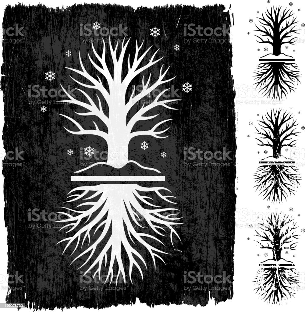 Winter Tree Grunge royalty free vector icon set royalty-free stock vector art