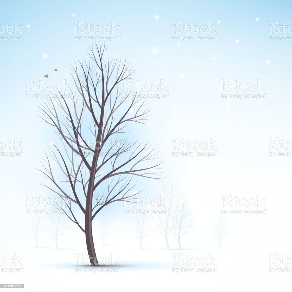 Winter tree vector art illustration