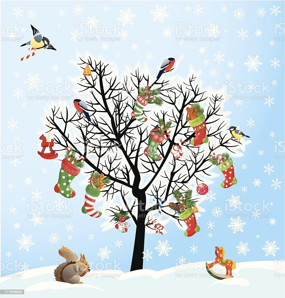 Winter Baum Mit Vögeln Eichhörnchen Weihnachten Schuhe Süßigkeiten ...