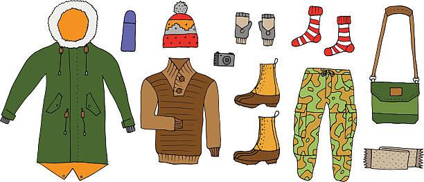 winter angesagten look buchen. isoliert. vektor. - parkas stock-grafiken, -clipart, -cartoons und -symbole