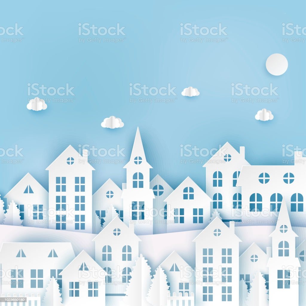 winter urban countryside landscape village with cute paper houses
