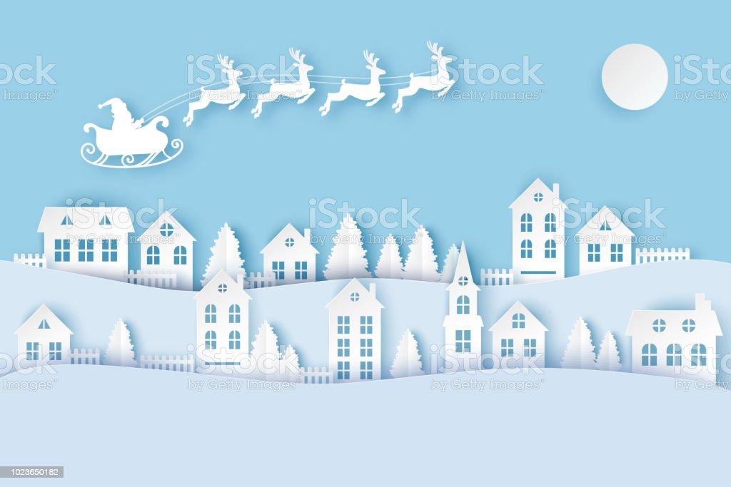 冬鹿空を飛んでいるとかわいい紙の家、松の木とサンタ都市田舎風景の村。メリー クリスマスと新年の紙アートの背景 ベクターアートイラスト