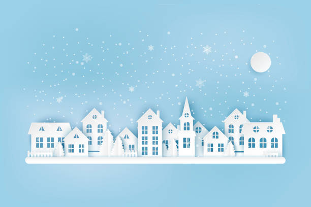 Winter urban countryside landscape, village with cute paper houses, pine trees and snow. Merry Christmas and New Year paper art background Winter urban countryside landscape, village with cute paper houses, pine trees and snow. Merry Christmas and New Year paper art background village stock illustrations