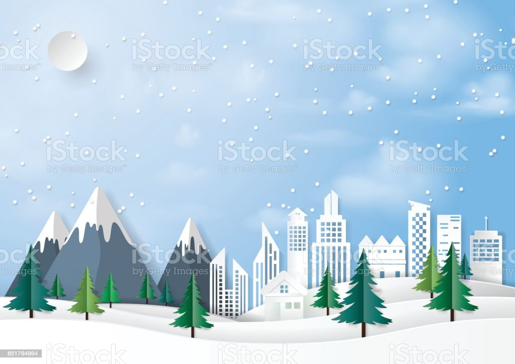 Winter urban landscape paper art background