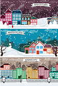 Town, City, Village winter landscapes. View of street with snow covered industrial and residential buildings. Creative illustration set of flat design. EPS10. Contains transparent objects