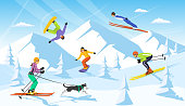 winter vacaction ski resort scene. man and woman cross country skiing, jumping, snowboarding