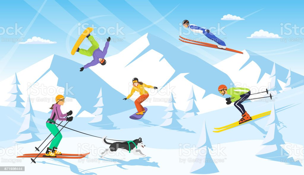 winter vacaction ski resort scene. man and woman cross country skiing, jumping, snowboarding vector art illustration