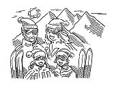 Winter Vacation Family Mountains Drawing