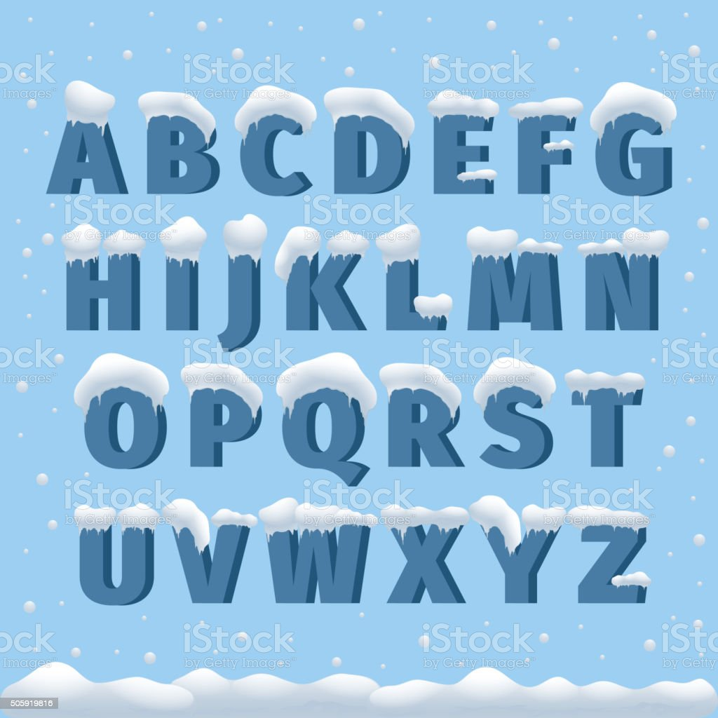 Winter vector alphabet with snow vector art illustration