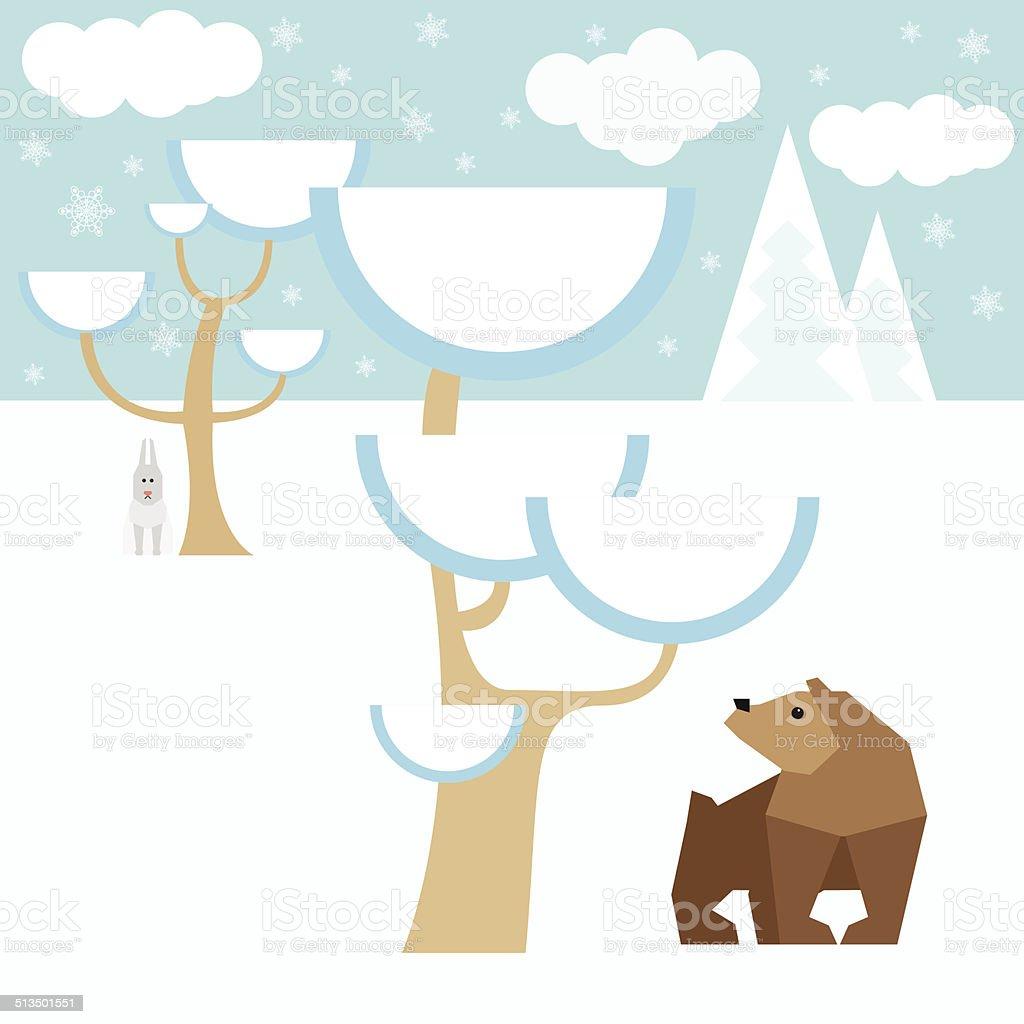 冬のベクトルの背景に雪の森の動物 のイラスト素材 513501551   istock