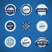 Vector illustration of some winter theme snow badges.