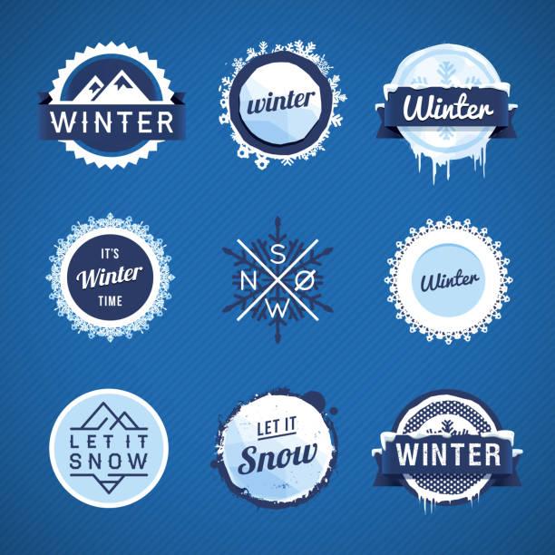 ilustrações de stock, clip art, desenhos animados e ícones de vector emblemas de inverno - ice
