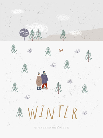 Winter. Vector cute illustration of landscape and people. Scandinavian Northern style Hugge. Painted background or pattern for poster, card and banner.