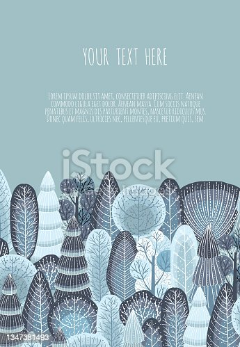 istock Winter Vector cute illustrations of nature, landscape, trees for a New Year and Christmas background. 1347381493