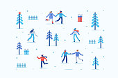 Cozy Winter Pattern with People Skating on Ice Rink. Christmas Holidays Concept with Characters. Flat cartoon vector illustration isolated.