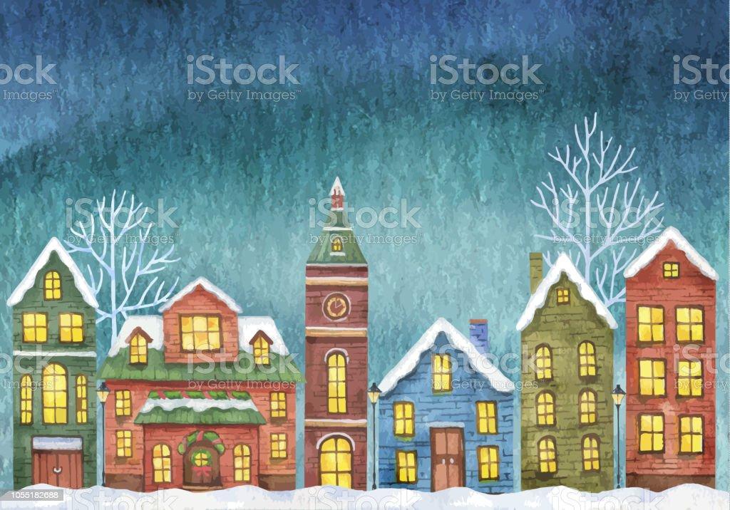 Kış Vektör çizim Ile Gece Gökyüzü Arka Plan üzerinde Ev Sahipliği