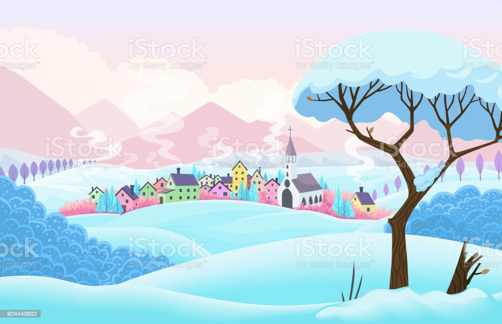 Winter vector scene with village and tree vector art illustration
