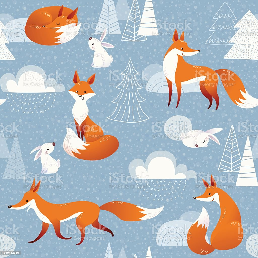 Winter vector seamless pattern with cute foxes and rabbits - Royalty-free Animal stock vector