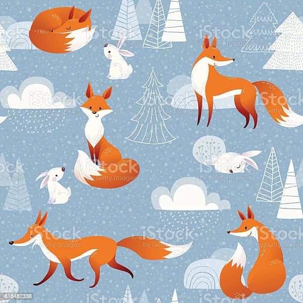 Winter Vector Seamless Pattern With Cute Foxes And Rabbits Stock Illustration - Download Image Now