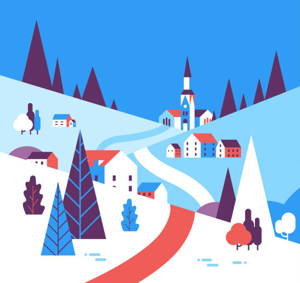 winter village houses mountains hills landscape background flat winter village houses mountains hills landscape background flat vector illustration village stock illustrations