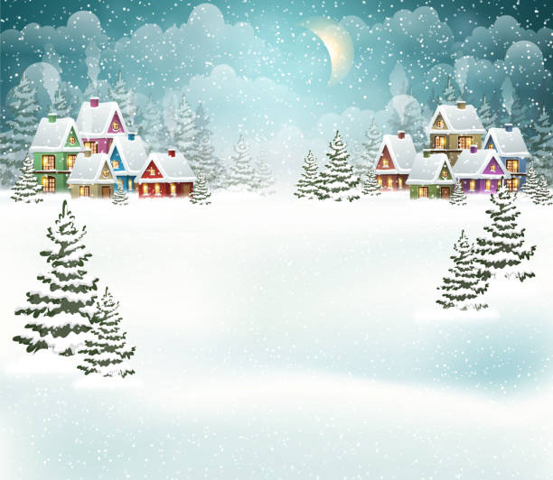 Winter village landscape Evening winter village landscape with snow covered house. Holidays vector illustration december illustrations stock illustrations
